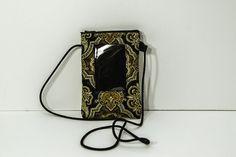 ID phone case passport holder in Elegant Metallic Gold Crowns on Black by JoyInTheBag on Etsy