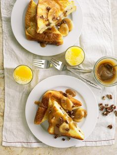 Mascarpone-Stuffed French Toast with Salted Caramel-Banana Sauce, from BHG. A caloric extravaganza of Texas toast, cream cheese, mascarpone, and cinnamon. A perfect recipe for Christmas morning. Best Brunch Recipes, Breakfast Recipes, Savory Breakfast, Breakfast Ideas, Breakfast Lasagna, Favorite Recipes, Breakfast Sandwiches, Breakfast Pancakes, Breakfast Time