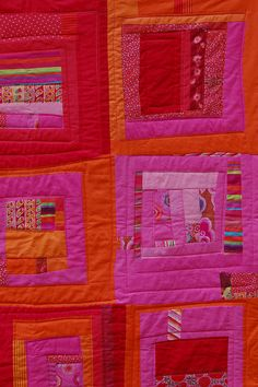 hot pink orange and red. little bit of denyse Schmidt, little Gees Bend- lot's of hot colors.
