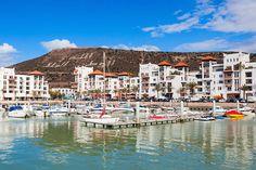 Boats at the Marina harbour in Agadir. Agadir is a major city in Morocco located on the shore of the Atlantic Ocean, near the Atlas Mountains. Marrakech, Agadir Morocco, Casablanca, Winter Sun Holidays, Holidays 2017, Costa, City By The Sea, Destinations, Station Balnéaire