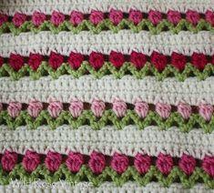 Wild Rose Vintage: Flowers In A Row-crochet pattern Crochet Motifs, Crochet Blanket Patterns, Baby Blanket Crochet, Knitting Patterns Free, Crochet Stitches, Baby Knitting, Crochet Baby, Free Crochet, Knit Crochet