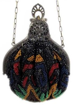 Antique late 1800s/early 1900s Czech glass beaded purse