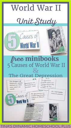Free 5 Causes of War and The Great Depression minibooks for a World War II homeschool unit study and lapbook @ Tina's Dynamic Homeschool Plus