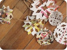 make paper snowflakes out of magazines...funky and colorful...