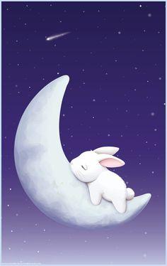 Luna y conejito durmiendo.