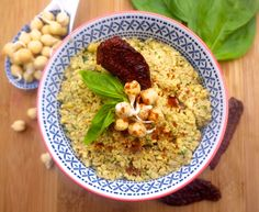 Basil and Sun-Dried Tomato Sprouted Chickpea Hummus