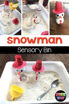 Snowman Sensory Bin made with rice and Pom Wonderful bottles! Great activity for preschoolers for a Christmas or winter theme!
