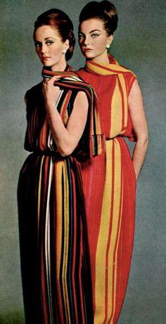 Robes du soir Jeanne Lanvin, 1964 60s color photo print ad designer couture stripes striped gown red black yellow orange models magazine evening wear gown dress