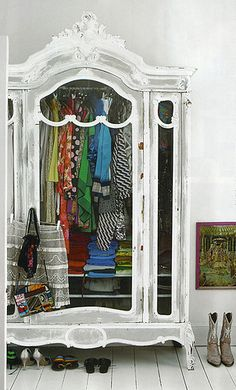 An armoire for extra closet space. See through doors make clothes part of the decor. Decor, Furniture, Interior, Deco, Dream Closets, House Styles, Decor Inspiration, Home Decor, Armoire