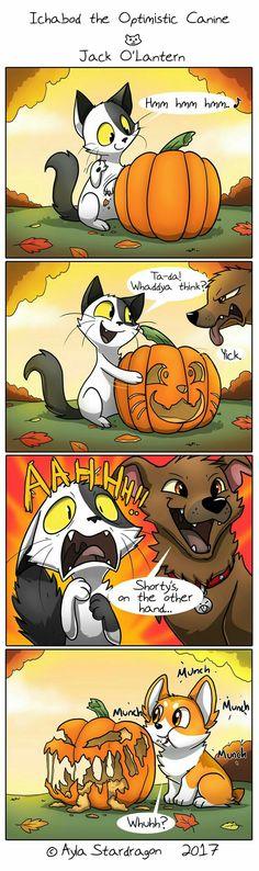 Ichabod the Optimistic Canine: Jack O'Lantern Funny Animal Comics, Dog Comics, Funny Animal Jokes, Cute Comics, Cute Funny Animals, Funny Comics, Really Funny Memes, Stupid Funny Memes, Cute Animal Drawings