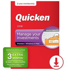 Quicken Premier 2018 - 27-Month Personal Finance & Budgeting Software [PC/Mac Download] - Amazon Exclusive - Take control of your finances and maximize your investments Import all your checking and credit card bank transactions safely and automatically* See where your money is going - your transactions are automatically categorized Stay on top of your spending. Create a budget and manage your bills Impo...