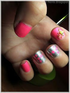 Neon pink and silver with dots and flowers.