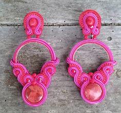 Soutache Earrings, Choker, Shibori, Outlet, Beads, Handmade, Ideas, Flower Necklace, Soutache Jewelry