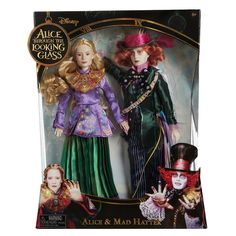 """Disney Alice in Wonderland Deluxe Collector Mad Hatter (Johnny Depp) and Alice (Mia Wasikowska) Toys """"R"""" Us Exclusive 11.5"""" Dolls 2-Pack by Jakks Pacific ($60 at Toysrus.com) - Dolls are sculpted in the likenesses of Johnny Depp and Mia Wasikowska. Mad Hatter doll features a detailed teal coat and iconic hat, featuring a tassel and tie. Alice wears ornate violet printed coat, wide legged teal pleated pants and oversize sculpted chest piece as featured in Disney's Alice Through the Looking…"""