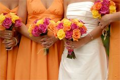 Bridesmaid dresses- peachy coral with beautiful flowers to match
