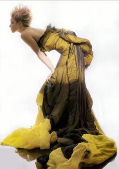 I'm in love with this shot!!  Asymmetrical fine-silk-gauze bustier dress with pleated back and train with black silk-chiffon overlay, Givenchy Haute Couture, made to order through Givenchy Haute Couture (Paris)  Photo: Gilles Bensimon; Styled by Isabel Dupré