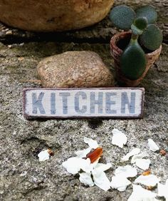 Dollhouse KITCHEN sign dollhouse miniature by DewdropMinis Kitchen Signs, Kitchen Decor, Miniature Kitchen, Dollhouse Accessories, Wooden Signs, Dollhouse Miniatures, Handmade, Etsy, Wooden Plaques