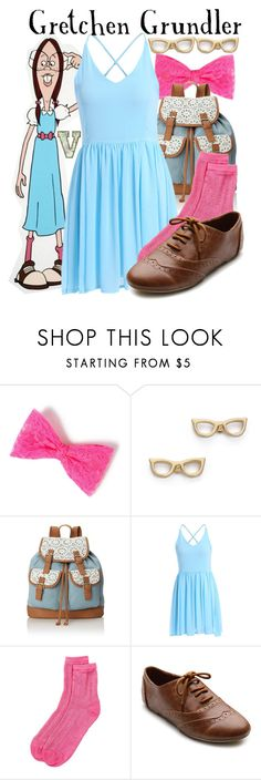 """""""Gretchen Grundler (Disney's Recess)"""" by fabfandoms ❤ liked on Polyvore featuring GRETCHEN, Kate Spade, Wild Pair, Free Press and Ollio"""