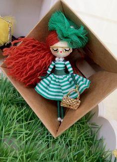 Items similar to doll brooch jewelry doll OOAK on Etsy Yarn Dolls, Felt Dolls, Fabric Dolls, Fairy Crafts, Doll Crafts, Diy And Crafts, Accessoires Mini, Muñeca Diy, Mermaid Ornament