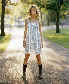 White dress with boots.