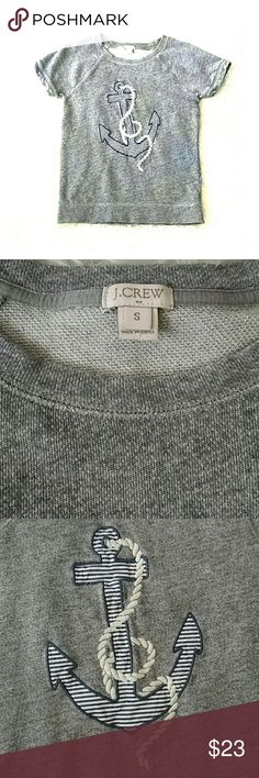 J Crew Nautical Anchor Top S Short sleeve, crew neck, nautical anchor sailor sweatshirt top from J Crew. Heathered  grey with blue and white striped anchor applique with white rope detail. In excellent  condition. Comes from a smoke-free, pet-free home. J. Crew Tops