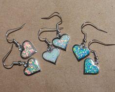 1 PAIR fire opal earrings gemstone silver jewelry cocktail Heart drop/dangle A
