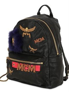 mcm - women - backpacks - medium logo patched leather backpack