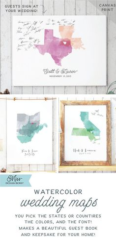 Rustic Guest Book Alternatives like this Watercolor Wedding Guestbook Canvas…