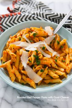 Roasted Red Pepper Pasta with Goat  Cheese from thelittlekitchen.net @TheLittleKitchn