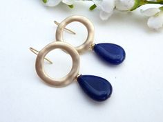 Navy Blue Jade with a Large Matt Gold Plated Ring by JCGemsJewelry
