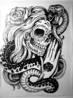 Amazing tattoo design - sugar skull lade with rose in her hair, praying with a snake around her. #tattoo #tattoos #ink #inked