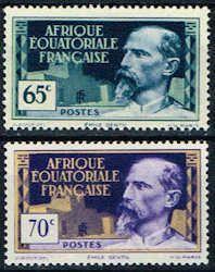 French Equatorial Africa 51 - 52 Stamps - Emile Gentil Stamps - AF FEA 51 to 52-1 HR
