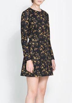 Black Floral Round Neck Above Knee Cotton Dress