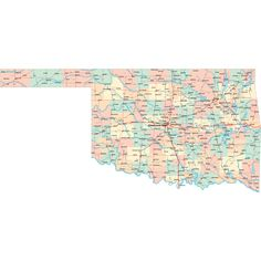 Scalable online Oklahoma road map and regional printable road maps of Oklahoma. Map Of Oklahoma, Highway Map, Road Maps, State Map, Bucket, Diagram, Sweet, Art, Candy