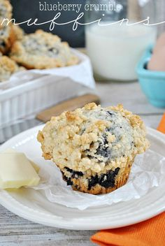 Blueberry+Crumble+Muffins  Ingredients  3/4+cup+milk 1/4+cup+vegetable+oil 1+large+egg 2+cups+all-purpose+flour 1/2+cup+sugar 2+teaspoons+baking+powder 1/2+teaspoon+salt 1+cup+canned+blueberries,+rinsed+and+drained+(or+fresh!) For+the+crumble+topping: 3/4+cup+all+purpose+flour 1/2+cup+(1+stick)+butter,+cut+into+cubes 3+tablespoons+br
