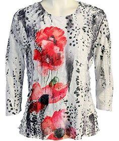 Jess & Jane - Leopard Poppy, Ruffle Accents, Scoop Neck, Sublimation Print Top