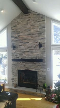Image result for floating beam mantle with ledgestone
