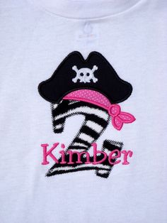 Girls' Birthday Zebra Print Pirate T Shirt or by TheSassySquirrel, $17.99