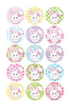 Easter Floppy Ear Bunny Girl With Flowers 1 Inch Circles Collage Sheet 4x6 Inch JPG Bottlecap Hairbows Jewelry Magnets More INSTANT DOWNLOAD...