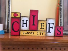 Items similar to Kansas City Chiefs Word Blocks - KC Wooden Block Set on Etsy - Kansas City Chiefs Word Blocks KC Wooden by GuidingPrintables - Barn Wood Signs, Wooden Signs, Word Block, Kansas City Chiefs Football, High Pictures, Vinyl Gifts, Wooden Blocks, Crafty, Wasting Time
