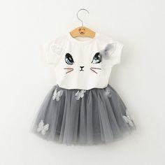 Oso lider chicas ropa 2016 Brand ropa para ninas establece ninos del gato de <font><b>dibujos</b></font> animados los ninos nino nina Tops + Skirt