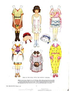 Not quite children's illustrations, but how could I NOT post this? Paper dolls, in The Delineator, V. 98, 1921. #children This book is in the public domain.