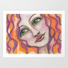 Auburn & Emerald Art Print...Visit my society6 shop and check out some new products with my artwork. Link: https://society6.com/elenisart  And this Friday you get  FREE SHIPPING on Everything with Code FRIYAY  Start: Friday, 7/20/18 @ 12:00am PT  End: Friday, 7/20/18 @ 11:59pm PT