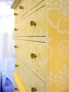 Sydney Barton - Painted Furniture: Yellow Stenciled Highboy