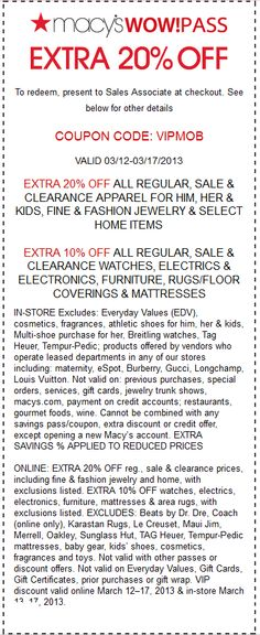 Extra 20% off apparel & more at Macys, or online via promo code VIP coupon via The Coupons App