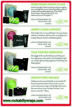 HOLIDAYS ARE JUST AROUND THE CORNER - SHOP NOW!  Start making your wish lists, Friends!!! Why? These are AMAZING sales, you won't see these prices again for another year...maybe (our black friday deals).  The holiday gift sets will be available November 14th - December 31, 2014   PRODUCTS ARE ALL NATURAL, SAFE HEALTHY AND VERY AFFORDABLE   Questions? Text Me:  262.573.3609 Check out my website:  www.rockabillywraps.com Join my Facebook Group to receive Info & Specials…