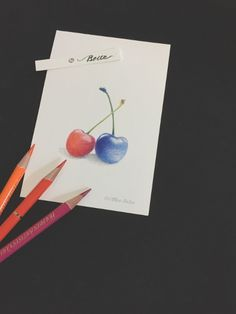 https://flic.kr/p/GAYBkg | 2015_05_23_cherry_01_s | red & blue  The blue cherry don't look good.   for this drawing I used : Holbein artists colored pencils Stonehenge paper  © Belta(Mayumi Wakabayashi)