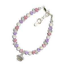 Baby Bracelets:  Sterling Silver, Lead Free Crystals, Cupcake Charm for Newborns