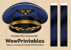 Pilot Costume Hat PRINTABLE Download easy to por WowPrintables