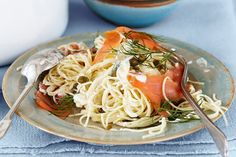 Angel hair pasta with salmon & lemon. Try something new for dinner with this speedy angel hair pasta with smoked salmon and lemon. Pasta Salad Recipes, Seafood Recipes, Cooking Recipes, Healthy Recipes, Seafood Pasta, Healthy Meals, Yummy Recipes, Smoked Salmon Pasta, Lemon Salmon